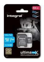 INTEGRAL 64GB microSDXC 280-100MB/s UHS-II V60 + SD adapter