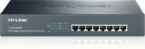 TP-LINK TL-SG1008PE 8-port Gigabit Desktop/Rackmount Switch z 8-port PoE+