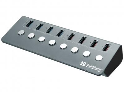 Sandberg 4 portni USB 3.0 hub z dodatnimi 4 porti za polnjenje naprav