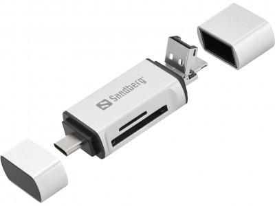 Sandberg čitalec kartic USB-C, USB-A in micro-USB