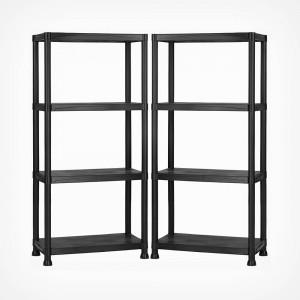 VonHaus 2 x 1.3m polični regal ABS črn