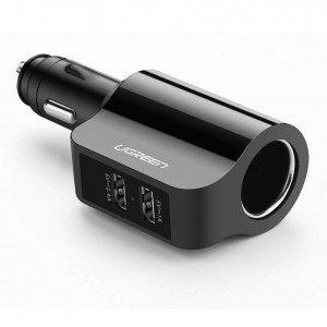 Ugreen 2x USB Ports avto polnilec 3.4A + 12V priklop črn