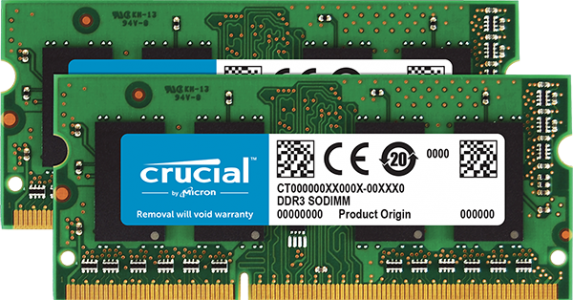 Crucial 16GB Kit (2 x 8GB) DDR3L-1600 SODIMM PC3-12800 CL11, 1.35V/1.5V za Mac