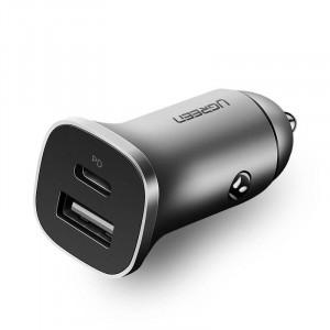 Ugreen avtopolnilec USB + USB-C PD 18W siv
