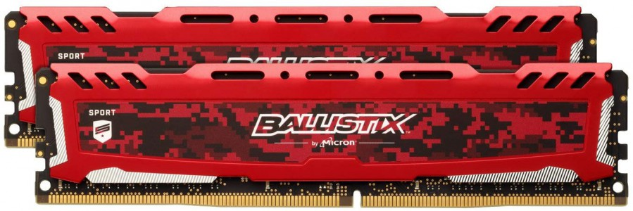 Crucial Ballistix Sport LT Red 32GB Kit (2 x 16GB) DDR4-2400 UDIMM PC4-19200 CL16, 1.2V
