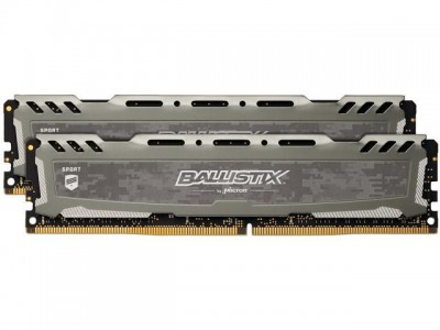Crucial Ballistix Sport LT Gray 16GB Kit (2 x 8GB) DDR4-2666 UDIMM PC4-21300 CL16, 1.2V