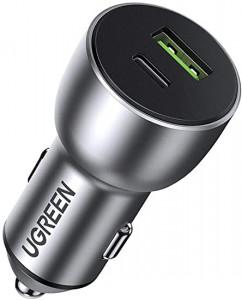 Ugreen avtopolnilec USB + USB-C PD 36W siv