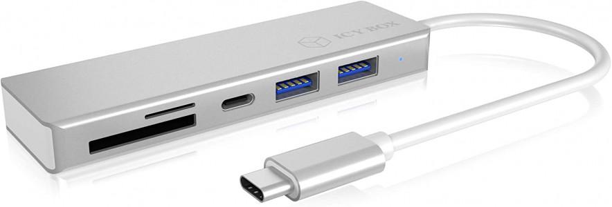 Icybox IB-HUB1413C-CR 3 portni USB-C hub s čitalnikom kartic