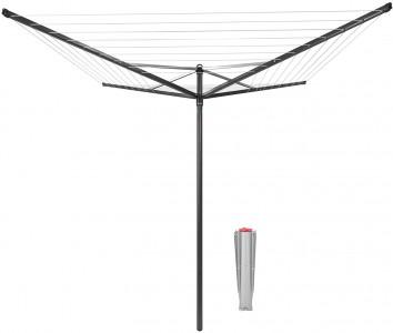 Brabantia zunanji sušilnik TOPSPINNER 50m + kovinski tulec za talno montažo črna antracit