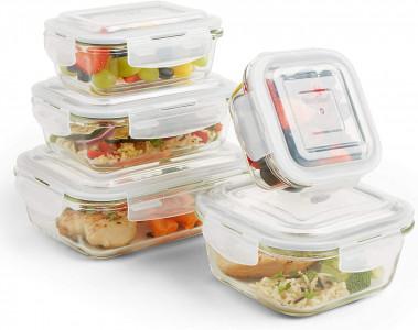VonShef 5 delni set steklenih posod za shranjevanje hrane