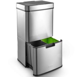 VonHaus vertikalen koš za odpadke 72L - z avtomatskim odpiranjem, srebrn