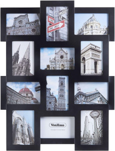 VonHaus foto okvir za 12 slik 10x15cm črn