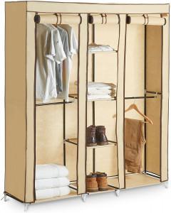 VonHaus prenosna garderobna omara iz tekstila, trojna, bež