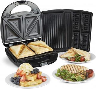 VonShef 3v1 aparat za pripravo toplih sendvičev, vafljev in paninijev