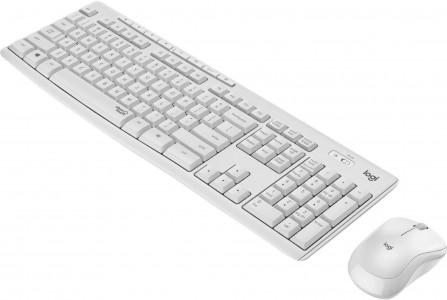 Logitech tipkovnica +miška brezžična Desktop MK295 SLO - bela barva SLO, silent