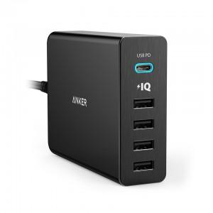 Anker PowerPort+ 5 60W 1 x USB-C (PD), 4 x PowerIQ namizni polnilec črn