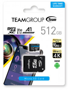 Teamgroup Elite A1 512GB MicroSD UHS-I U3 90MB/s Android spominska kartica