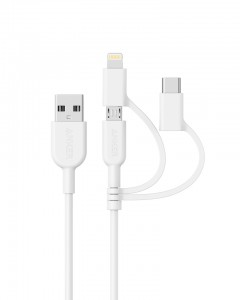 Anker Powerline II USB-A to 3v1 kabel 0,9m bel