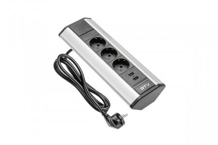 GTV namizna vtičnica 3x 230V + 2x USB