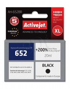 ActiveJet črno črnilo HP 652 F6V25AE