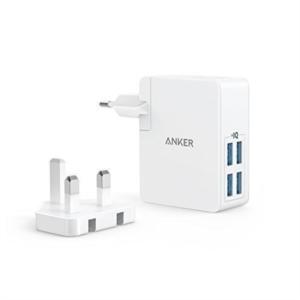 Anker PowerPort 4 Lite potovalni polnilec EU/UK bel