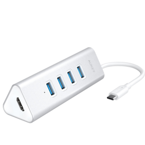Aukey USB-C to HDMI/ 4-portni USB 3.0 hub triangle