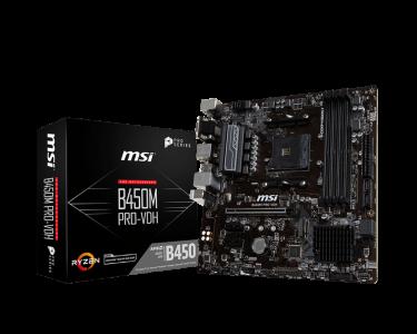 MSI B450M PRO-VDH, DDR4, SATA3, USB3.1Gen1, HDMI, AM4 mATX
