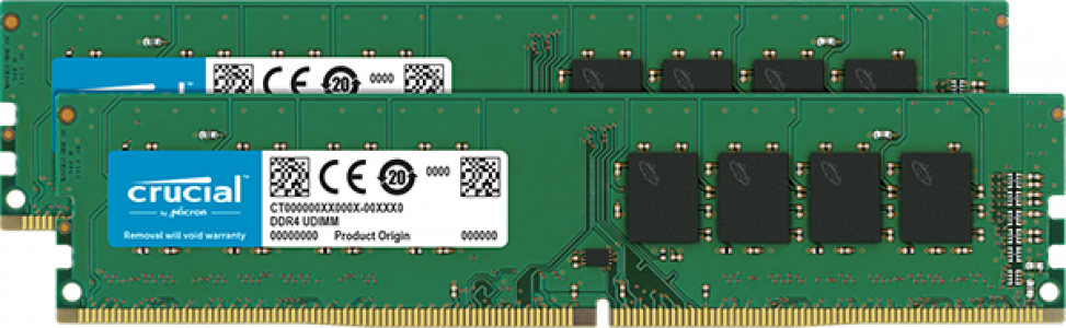 Crucial 16GB Kit (2 x 8GB) DDR4-2400 UDIMM PC4-19200 CL17, 1.2V Single Ranked