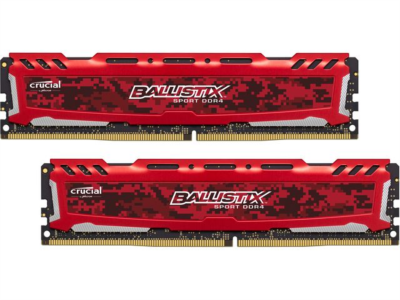 CRUCIAL 16GB Kit (8GBx2) DDR4 2400 CL16 1.2V Ballistix Sport LT Red DIMM