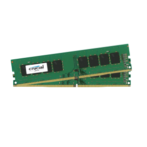 Crucial 16GB Kit (2 x 8GB) DDR4-2400 UDIMM PC4-21300 CL19, 1.2V Single Ranked