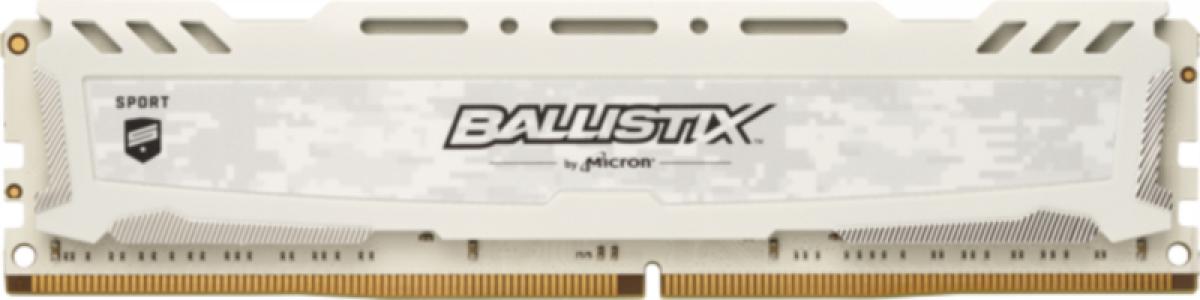 Crucial Ballistix Sport LT White 16GB DDR4-2666 UDIMM PC4-21300 CL16, 1.2V