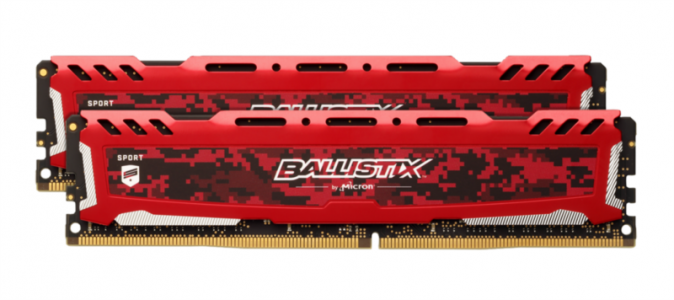 CRUCIAL 16GB Kit (8GBx2) DDR4 2666 CL16 1.2V DIMM Ballistix Sport LT, rdeč