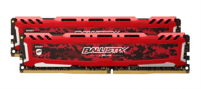 CRUCIAL 32GB Kit (16GBx2) DDR4 2666 CL16 1.2V DIMM Ballistix Sport LT, rdeč
