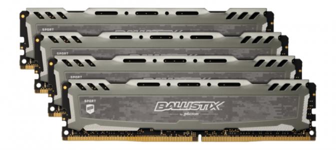 CRUCIAL 64GB Kit (16GBx4) DDR4 2666 CL16 1.2V DIMM Ballistix Sport LT