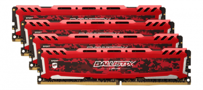 CRUCIAL 64GB Kit (16GBx4) DDR4 2666 CL16 1.2V DIMM Ballistix Sport LT, rdeč