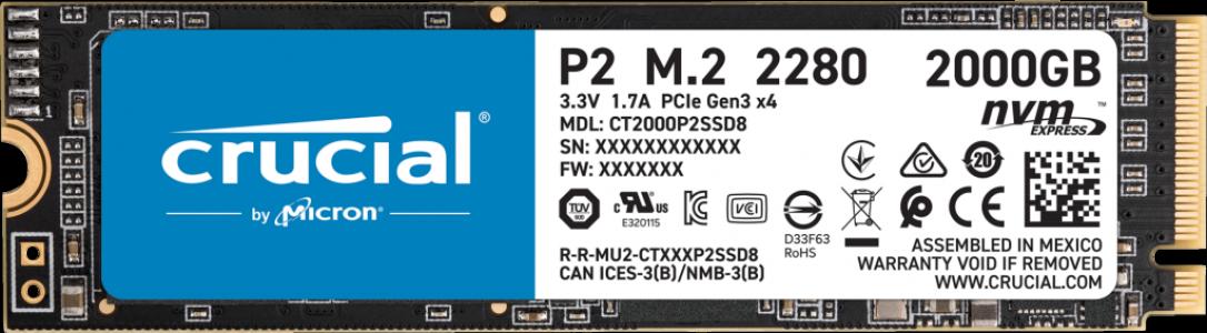 Crucial P2 2000GB 3D NAND NVM PCIe M.2 SSD