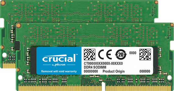 Crucial 16GB Kit (2 x 8GB) DDR4-2400 SODIMM PC4-19200 CL17, 1.2V Single Ranked