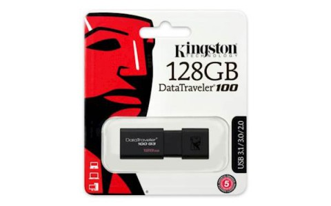 USB DISK KINGSTON 128GB DT100G3, 3.0, črn, drsni priključek