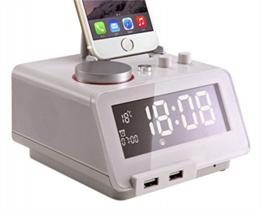 Homtime digitalna alarm ura bela SD/Bluetooth/FM/Aux/Lightning docking