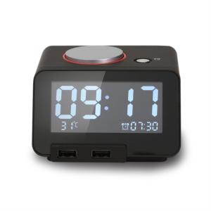 Homtime digitalna alarm ura črna dual USB za polnjenje/Bluetooth/SD