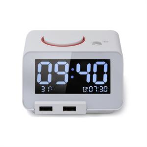 Homtime digitalna alarm ura bela dual USB za polnjenje/Bluetooth/SD