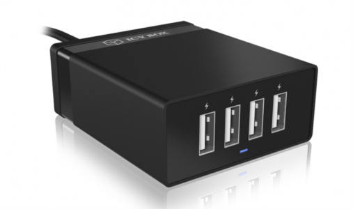Icybox 4×USB inteligentni hitri polnilnik za pametne telefone/tablice
