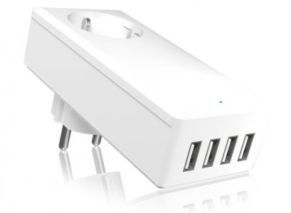 Icybox 4xUSB hitri polnilnik z vtičnico za pametne telefone/tablice