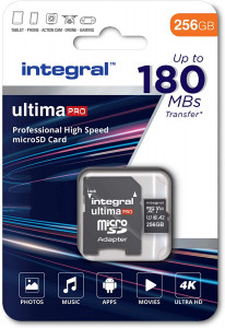 Integral 256GB Professional High Speed 180MB/s microSDXC V30 UHS-I U3