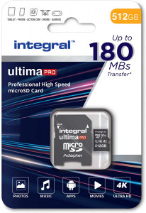 Integral 512GB Professional High Speed 180MB/s microSDXC V30 UHS-I U3