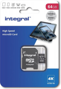 Integral 64GB Professional High Speed 180MB/s microSDXC V30 UHS-I U3