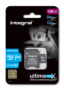 INTEGRAL 128GB microSDXC 280-100MB/s UHS-II V60 + SD adapter