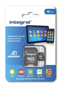 INTEGRAL 16GB A1 App Performance microSDHC UHS-I U1 spominska kartica