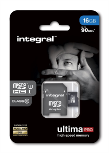 INTEGRAL 16GB MICRO SDHC class10 90MB/s SPOMINSKA KARTICA+ SD ADAPTER
