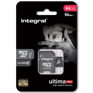 INTEGRAL 64GB MICRO SDXC class10 90MB/s SPOMINSKA KARTICA+ SD ADAPTER